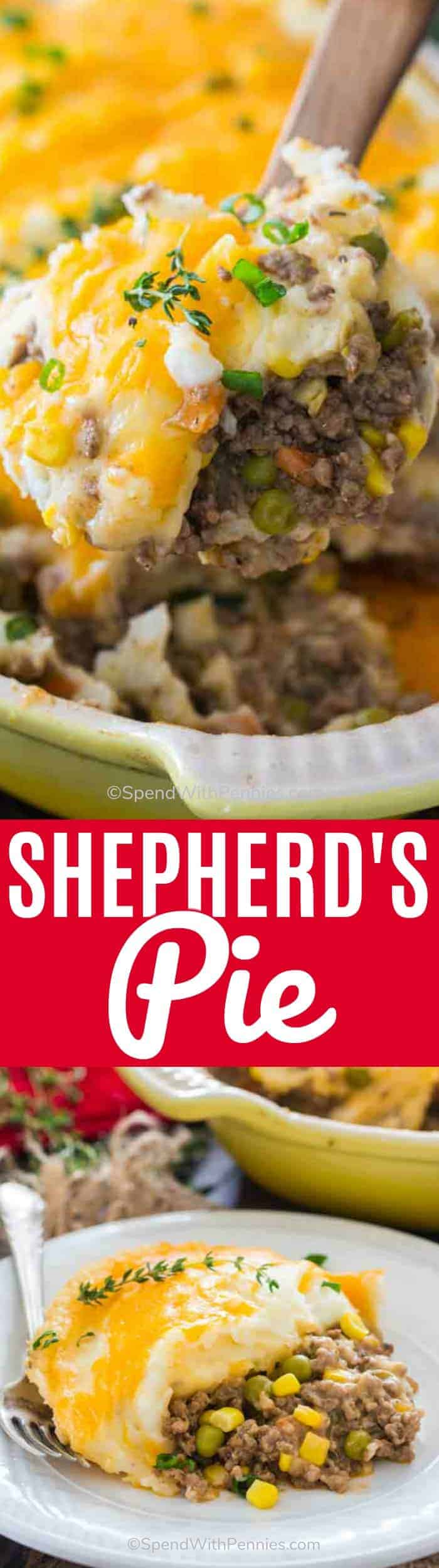 Shepherd's Pie is a traditional Irish dish made with ground lamb cooked with peas and carrots and topped with a mashed potato crust. Easy and tasty, all year round! #shepherdspie #groundlamb #groundbeef #spendwithpennies #mashedpotatoes #easyrecipe