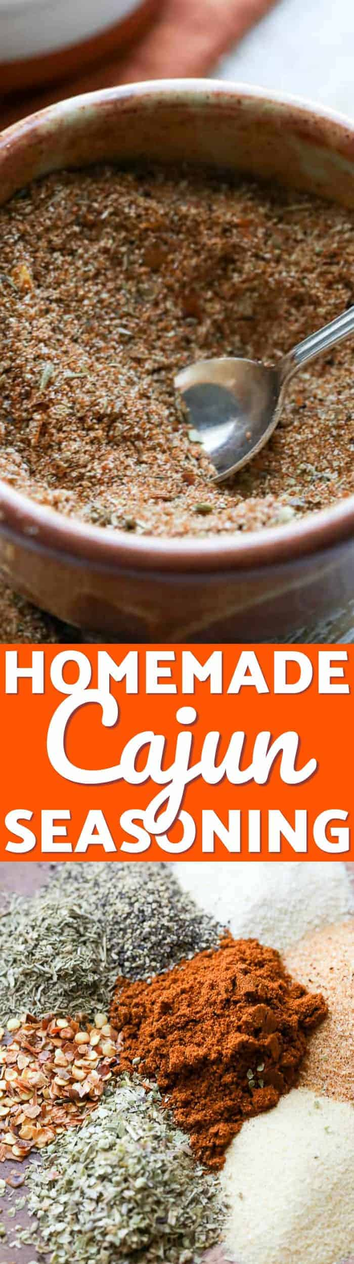 Cajun Seasoning contains super flavorful components such as garlic powder, onion powder, seasoning salt, oregano, and thyme. #spendwithpennies #seasoning #cajun #easyrecipe #homemade