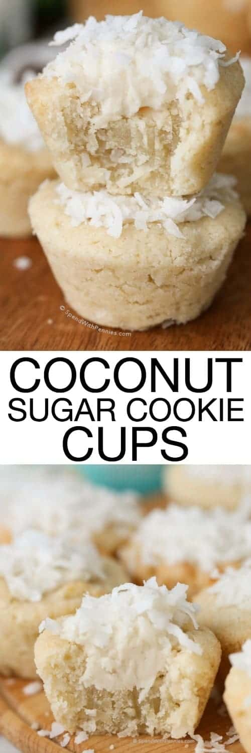 Coconut Sugar Cookie Cups have a yummy coconut sugar cookie base filled with frosting and topped with coconut. These are the perfect sweet treat for any time of year but are especiallycute for Easter! When topped with jelly beans, these sweet little treats resemble Easter baskets that are just begging for you to dig into them!