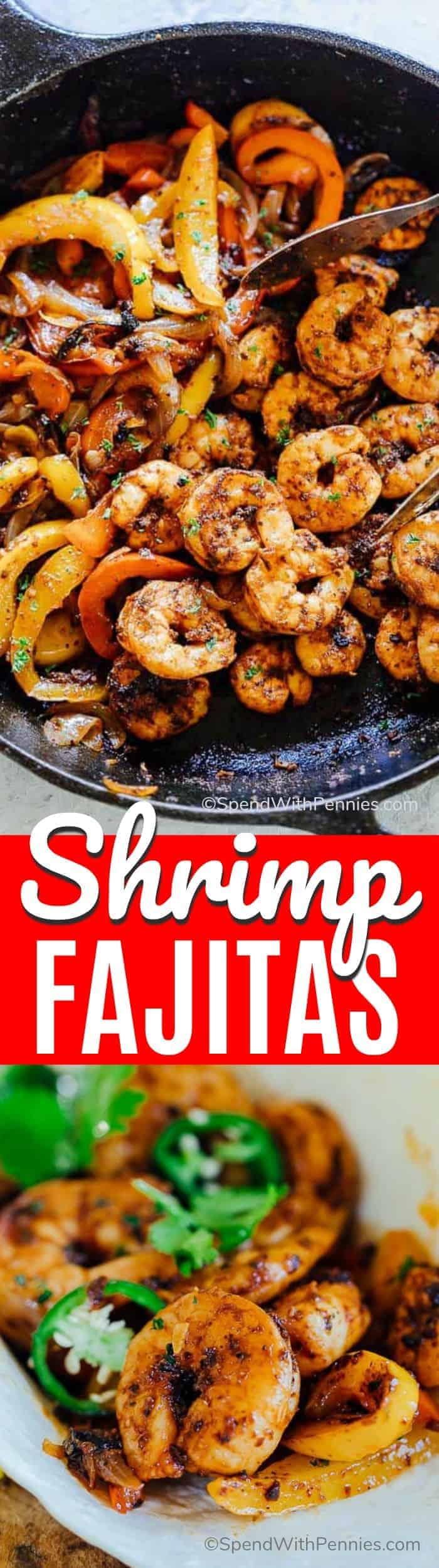 Shrimp fajitas in a pan and on a plate with writing