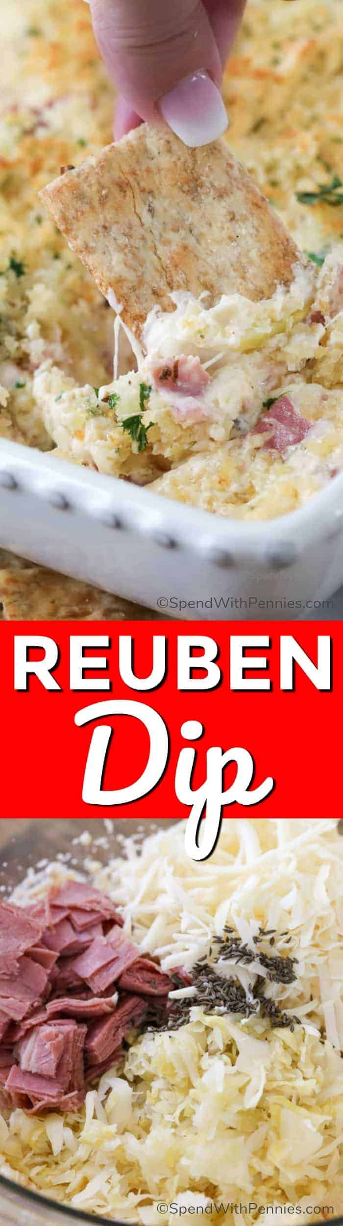 Reuben Dip ingredients and Reuben Dip in a casserole dish with a title