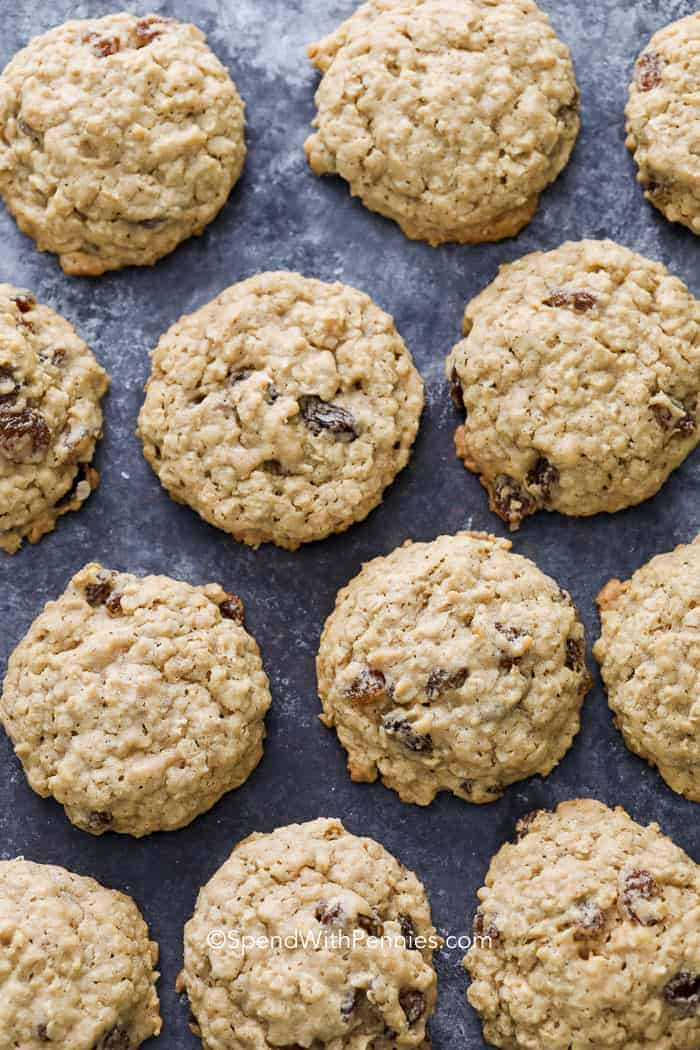 Oatmeal Raisin Cookies on a baking tray