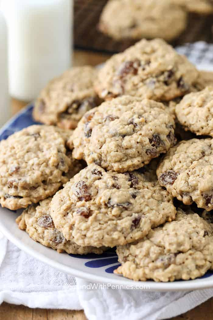 a plate of soft chewy oatmeal raisin cookies
