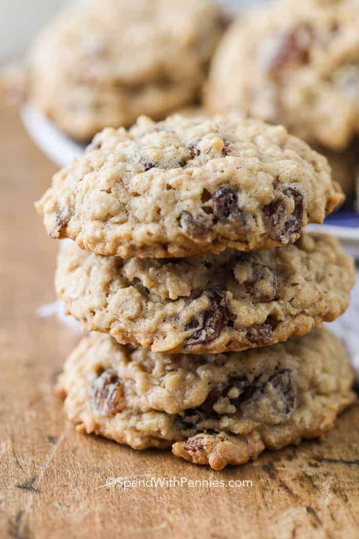 A stack of oatmeal raisin cookies