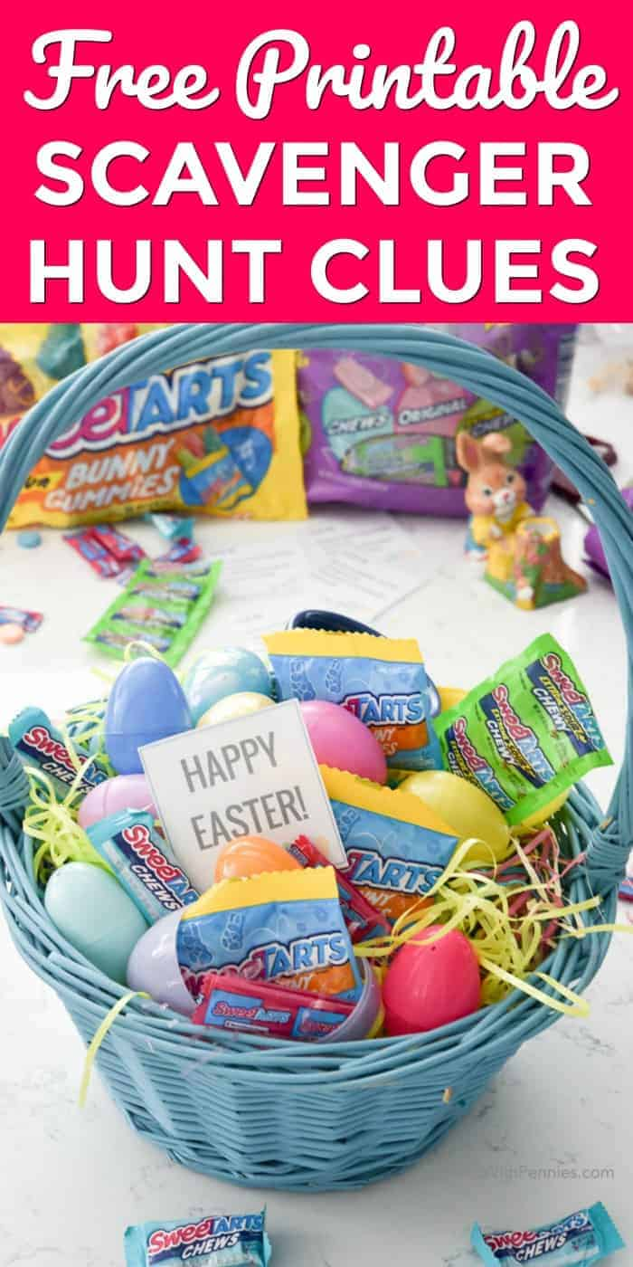 Easter basket for Free Printable Scavenger Hunt Clues with a title