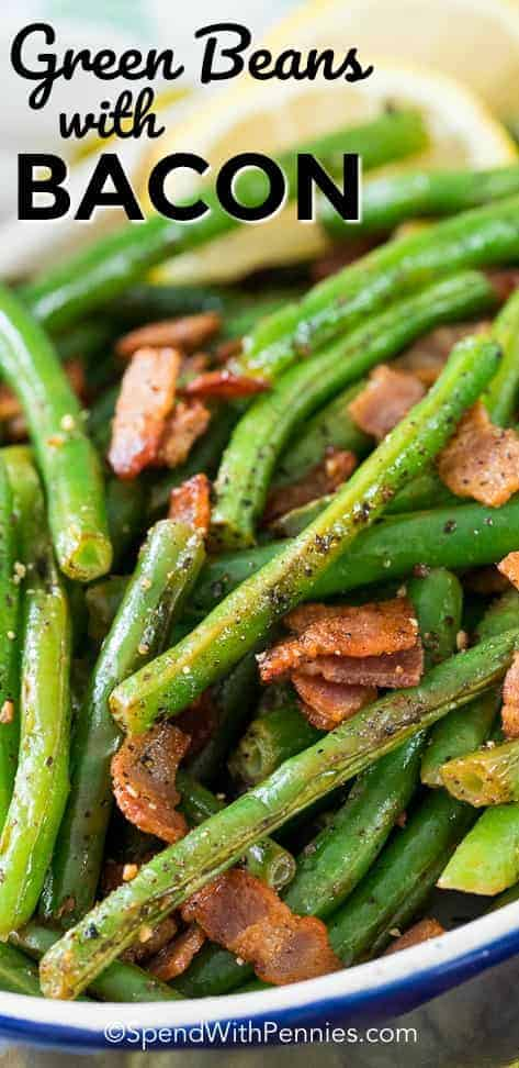Green Beans with bacon is one of our all time favorite side dishes! Fresh green beans are sauteed with bacon and garlic until tender crisp.  A squeeze of fresh lemon is added just before serving making these the perfect easy side! #spendwithpennies #greenbeans #bacon #side #easyside #easyrecipe