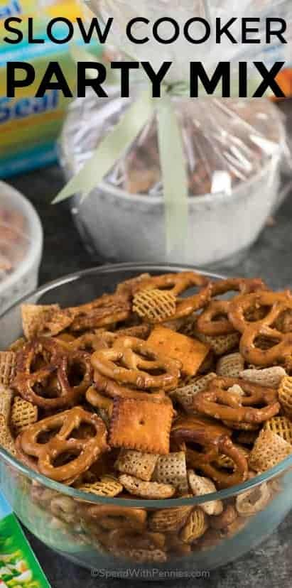 This easy party mix recipe combines the traditional snack mix that we have enjoyed for years with an exciting new twist! #spendwithpennies #partymix #holidayappetizer #holidays #snacks #partyfood
