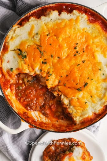 Shepherd's Pie Recipe in a pot with a serving scooped out