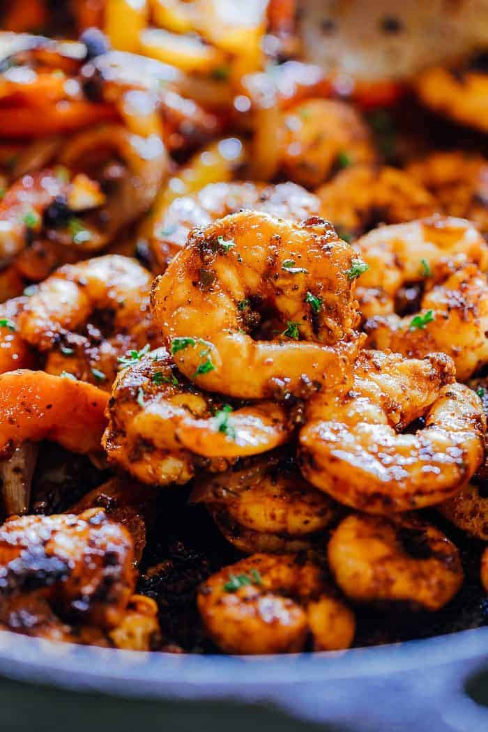 Close-up of skillet shrimp fajitas