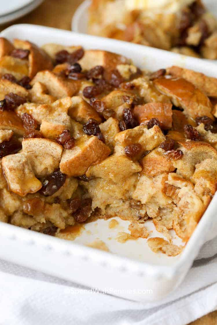 Bread pudding in a white casserole dish