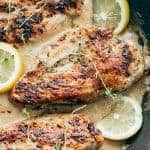 Closeup of creamy lemon thyme chicken in a pan