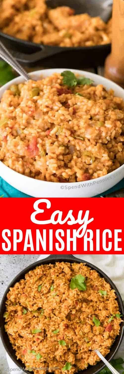 How to make the BEST Spanish Rice (also known as Mexican Rice)! This is so easy and flavorful! #recipe #sidedish #rice #easydinner #mexicanrice #spanishrice