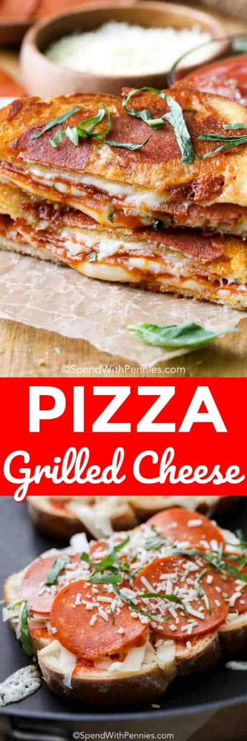 Pizza Grilled Cheese on a pan and on a wooden board with writing