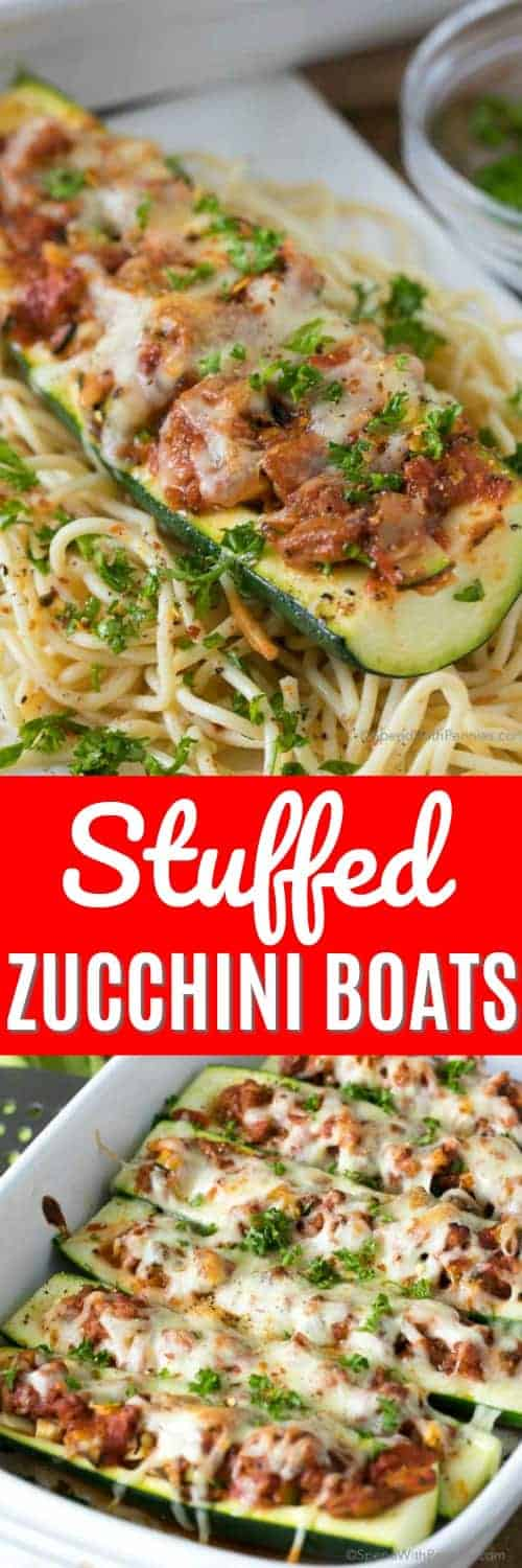Stuffed Zucchini Boats are the perfect way to enjoy your fresh summer zucchini! Tender zucchini filled with a silky meat sauce, topped with cheese and baked until tender. #spendwithpennies #healthyrecipes #lowcarbrecipes #easydinners #stuffedrecipes