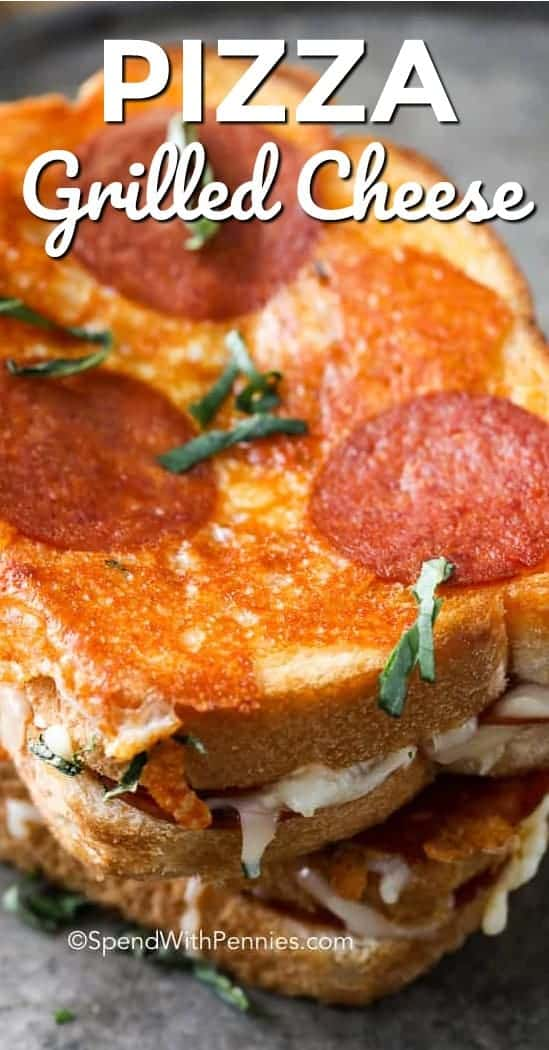 Pizza Grilled Cheese Sandwich is a delicious gourmet grilled cheese! Ooey Gooey Cheesy pepperoni pizza in a grilled cheese form.  This Pizza Grilled Cheese Sandwich has a deliciously cheesy filling with a crispy outside crust. #spendwithpennies #grilledcheese #pizzarecipe #grilledcheesesandwich #pizzagrilledcheesesandwichpepperoni #pepperonipizza #lunchrecipe #easylunchrecipe #grilledcheeserecipes