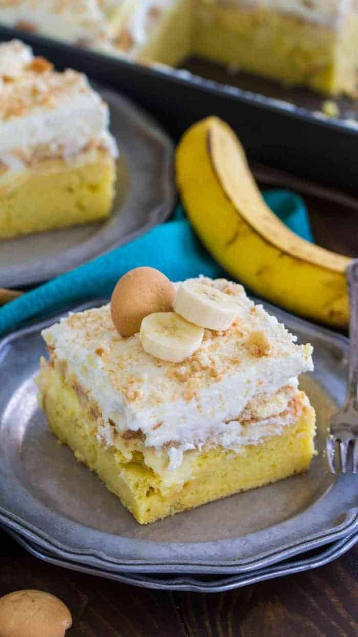 Banana Pudding Poke Cake on a plate