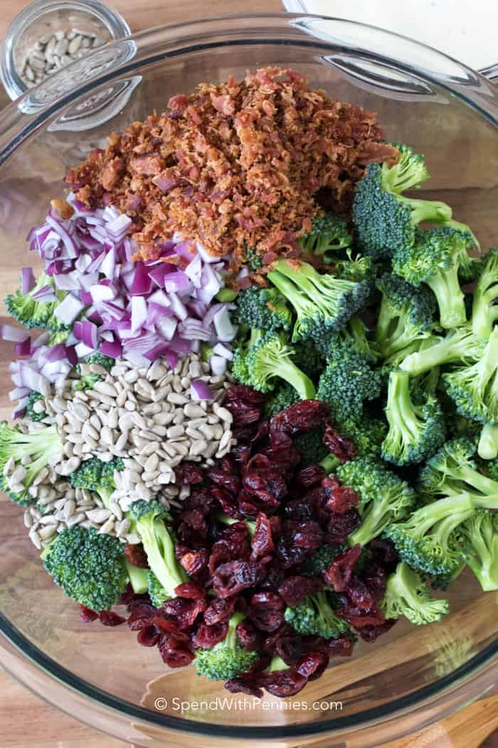 Ingredients for Broccoli Salad laid out in a clear mixing bowl