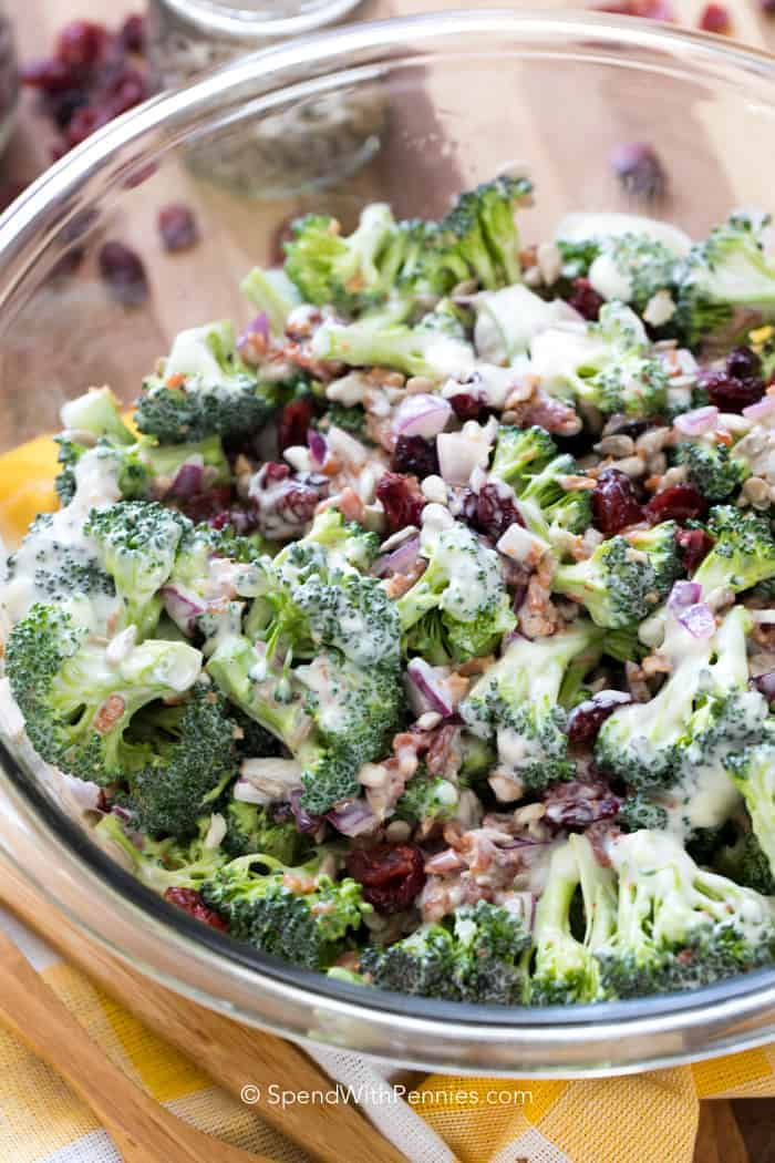 Broccoli Salad prepared in a large clear glass bowl