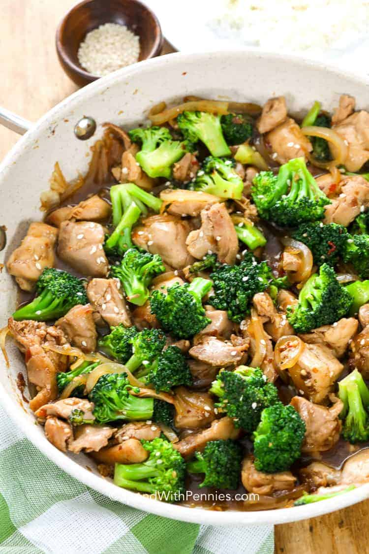 Chicken Broccoli Stir Fry prepared in a skillet