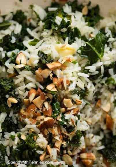 Garlic Butter Kale Rice closeup with almond garnish