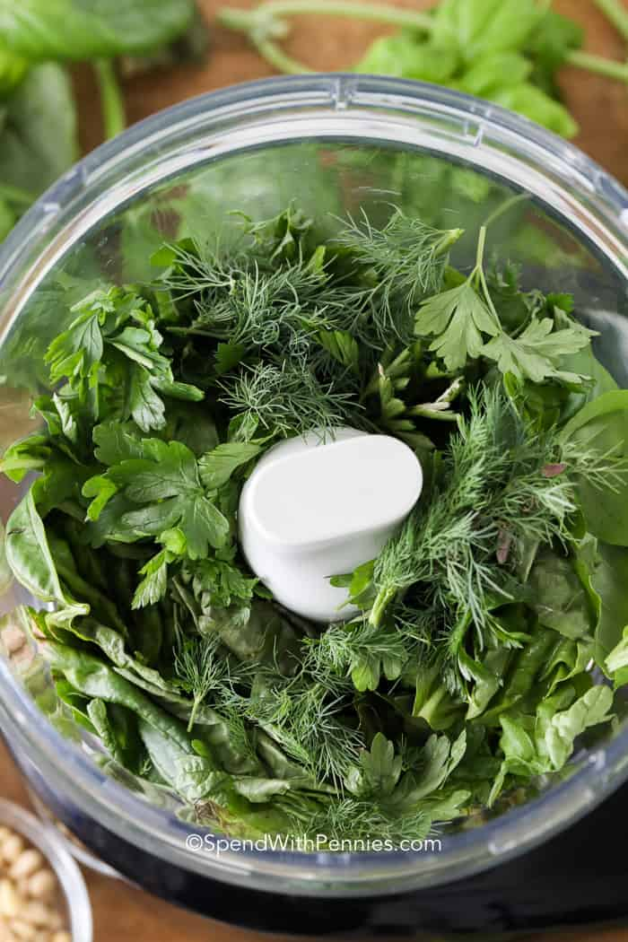 Herb Basil Pesto ingredients in food processor