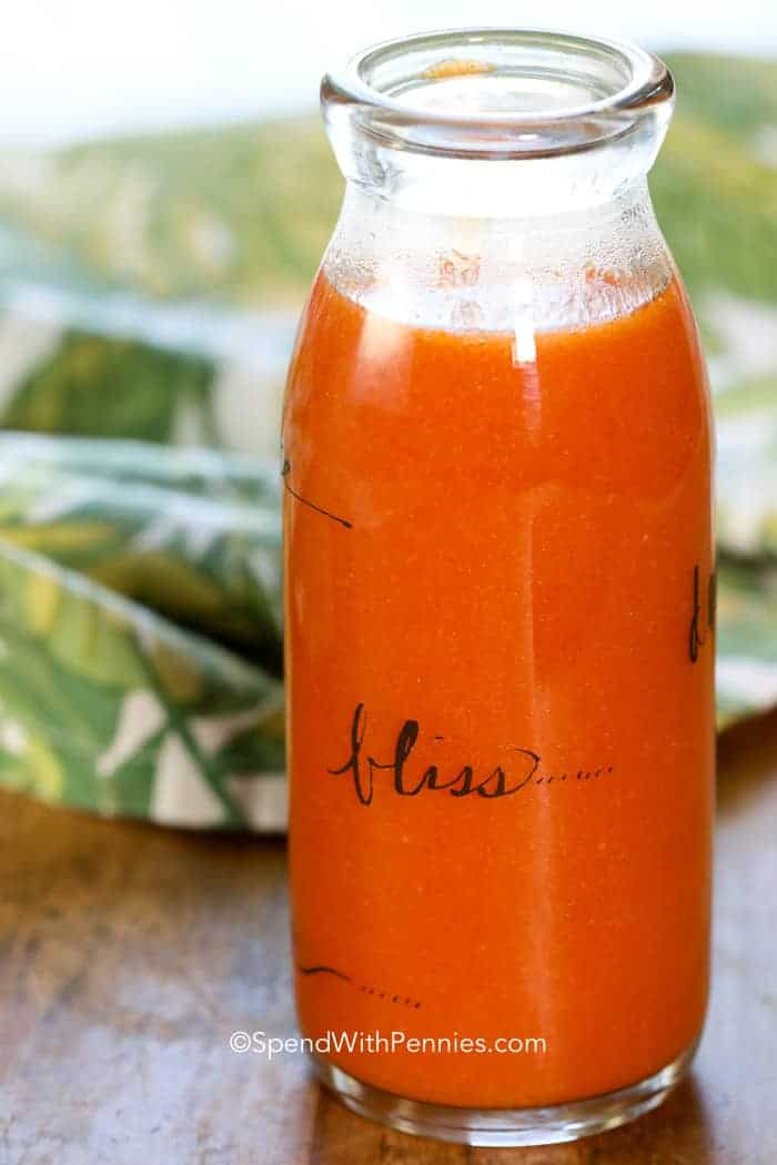 Buffalo Sauce in a glass bottle