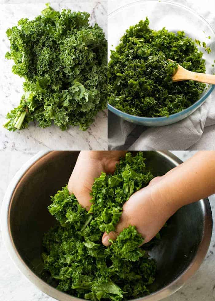 Kale bunch, kale chopped and being massaged by hand, and prepared Kale in a clear bowl with a wooden spoon for Garlic Butter Kale Rice