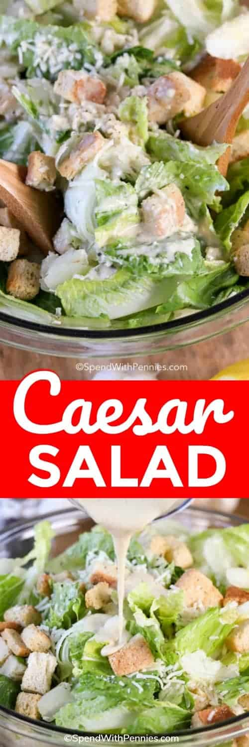 Caesar salad is one of my all time favorite salads! A rich and creamy caesar dressing is tossed with fresh romaine, an acidic punch from fresh lemon juice, crunchy croutons, and fresh parmesan cheese to give you one of the best classic salad staples! #spendwithpennies #simplesalad #easyrecipe #freshrecipe #sidedish #potluckmeal #summersalad