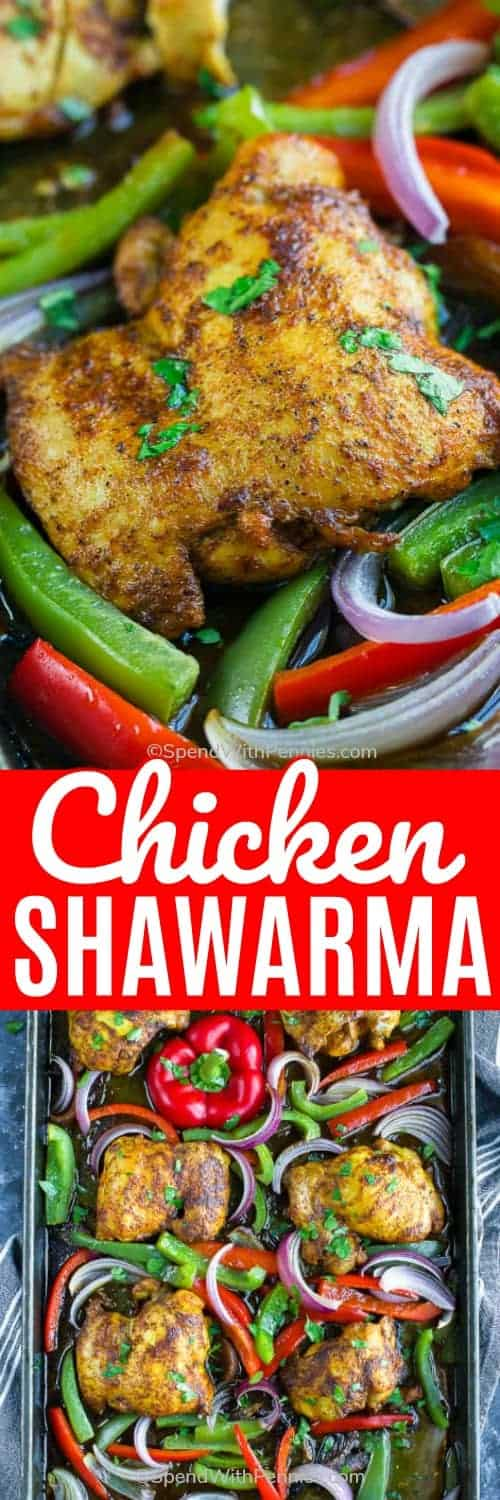 Chicken Shawarma on a baking sheet and on a plate with writing