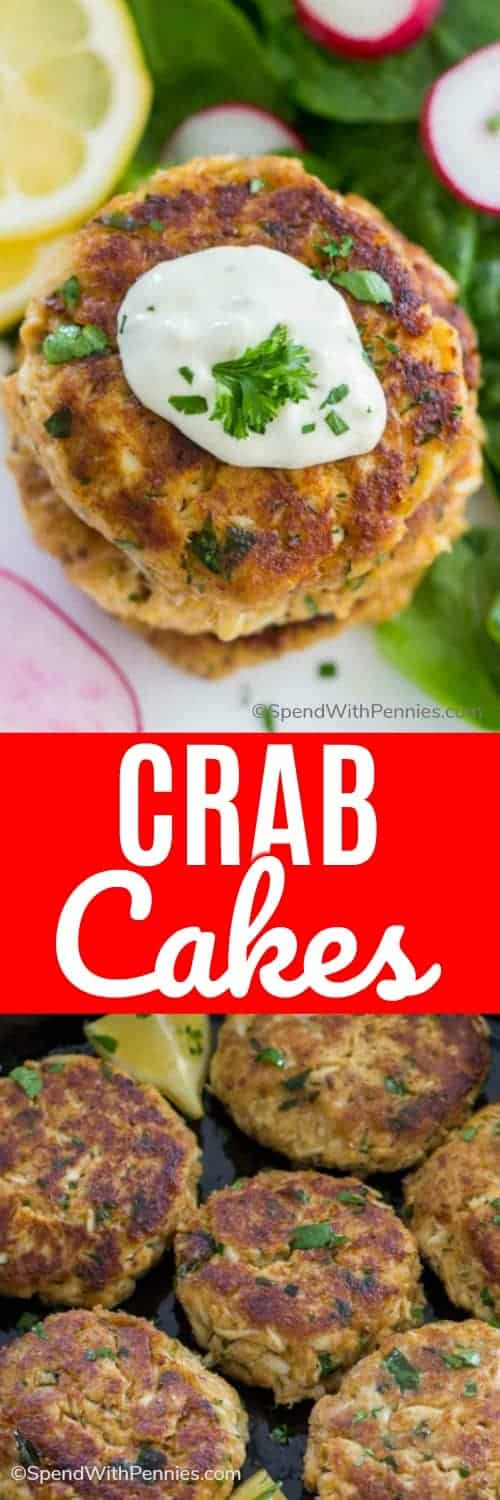 Crab Cakes with parsley with a title