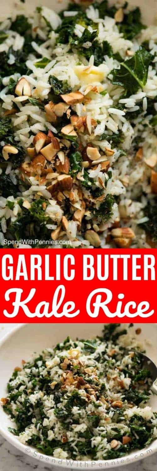 This Garlic Butter Kale Rice is a terrific side that's loaded with kale - but it doesn't seem like it! #garlicbutter #garlicrice #spendwithpennies #sidedish #kale #ricedish #easyside