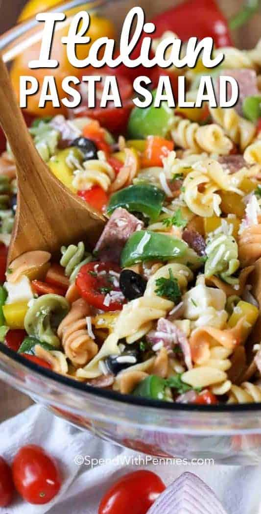 Italian Pasta Salad in a bowl with writing