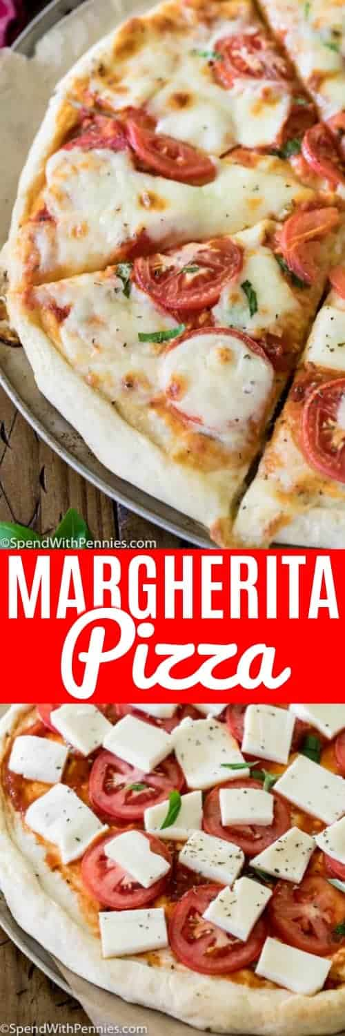 Margherita Pizza is a classic pizza recipe that is both beautiful and extremely simple to make! Made on a simple homemade pizza crust, generously brushed with olive oil, and prepared with just a handful of robustly-flavored fresh ingredients, you can't go wrong with this classic pizza! #spendwithpennies #margheritapizza #pizzarecipe #easyrecipe #homemade #simplemeals #thincrust #freshbasil #homemadedough