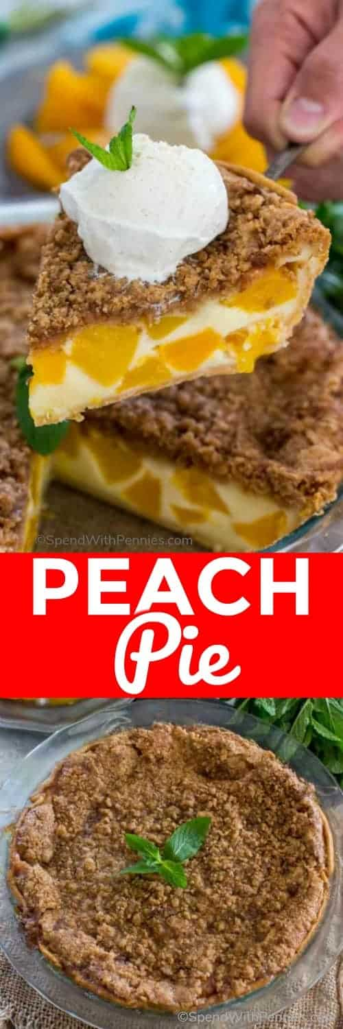 Slice of Peach Pie with writing