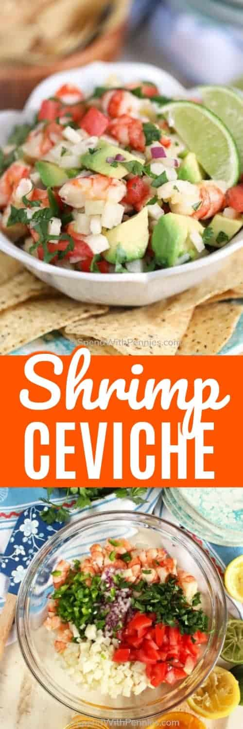 top image - prepared shrimp ceviche. bottom image - shrimp ceviche ingredients