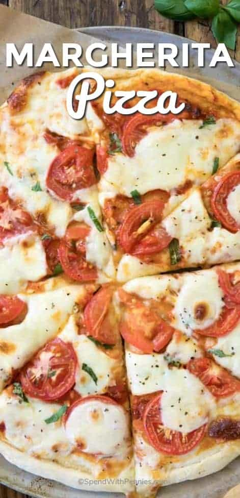 Slices of Margherita Pizza with writing
