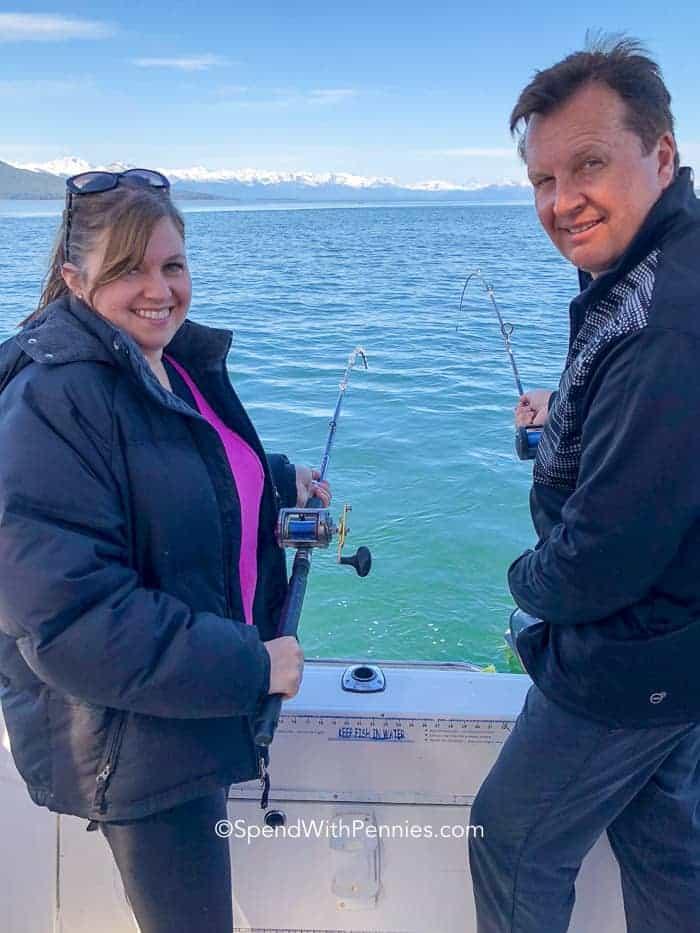 Holly and husband fishing on Alaskan cruise
