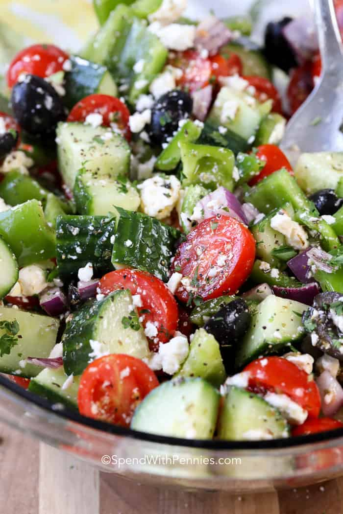 Greek salad in a large serving bowl