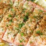 Herb Baked Salmon on baking sheet with foil