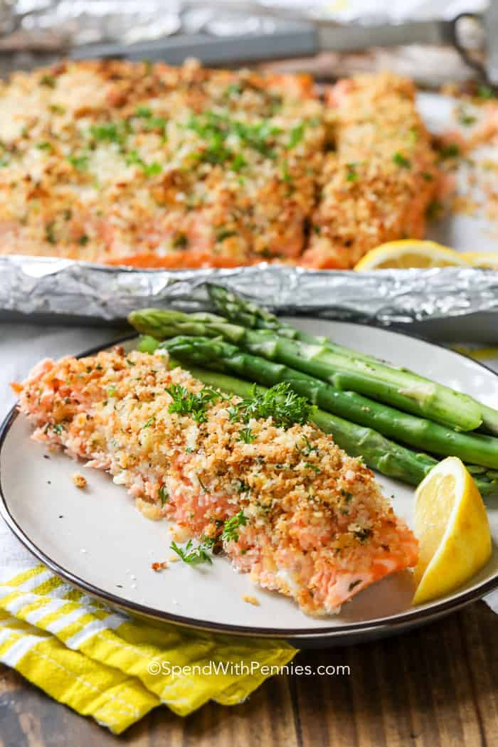 Herb Baked Salmon and asparagus on white plate