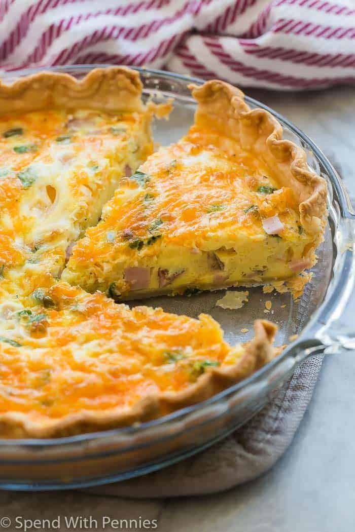 easy quiche recipe in glass pie plate