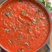 Overhead picture of Marinara Sauce in a pot