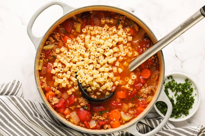 Pot of Pasta Fagioli with noodles