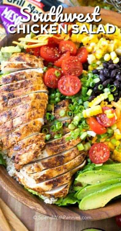 Southwest Salad is a packed perfectly seasoned grilled chicken, corn, avocado, beans, and romaine lettuce are all tossed together in a lime vinaigrette. #spendwithpennies #southwestsalad #southwesternsalad #chickensalad #grilledchicken #grilledchickensalad #summersaladrecipe #easyrecipe