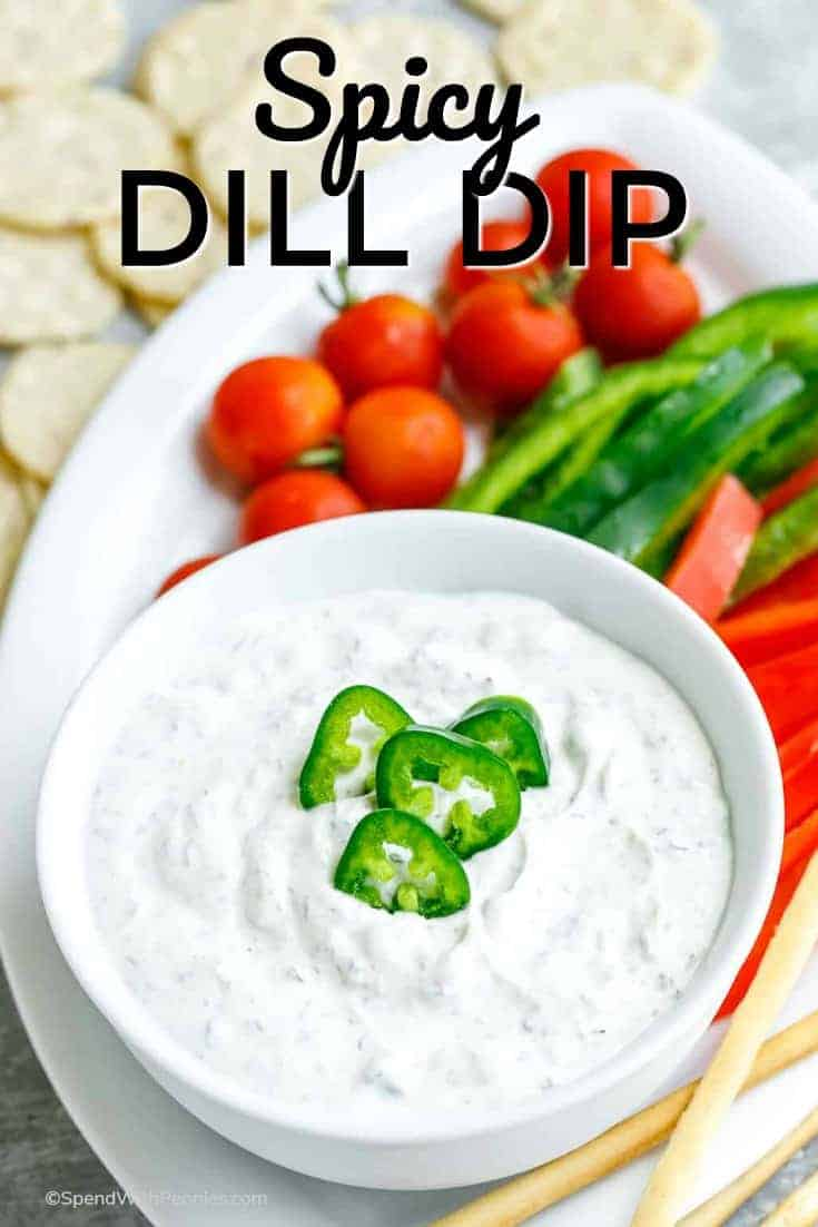 This Spicy Dill Dip is full of flavor! Pair it with all your favorite veggie and pita dippers and get ready for it to disappear and your next party or gathering! Even better? It's so light and refreshing that it's great for everyday snacking too. #spendwithpennies #dilldip #easyrecipe #easydip #creamydip #easyappetizer #easysnack #partyfood