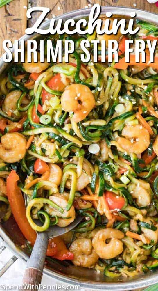 Shrimp Stir Fry with Zucchini Spirals!  This easy shrimp stir fry is loaded with flavor and ready in minutes! #veggiespirals #spendwithpennies #easyrecipe #stirfryrecipe #30minutemeal #shrimprecipe #shrimpstirfry #seafoodrecipe