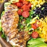 Overhead shot of Southwest Salad in a wooden bowl