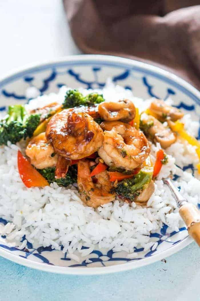 Teriyaki Shrimp Broccoli Stir Fry on a plate