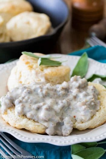 Biscuits and Gravy on a plate