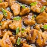 orange chicken close up in pan